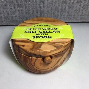 Trader Joe's Olive Wood Salt Cellar with Spoon NWT
